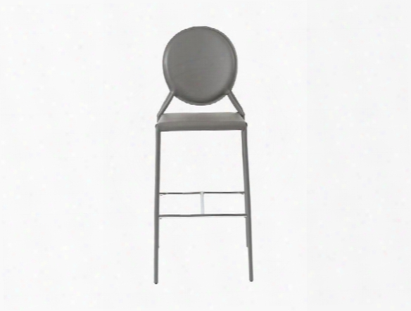Set Of Two Isabella-b Bar Stools In Grey Leather Design By Euro Style