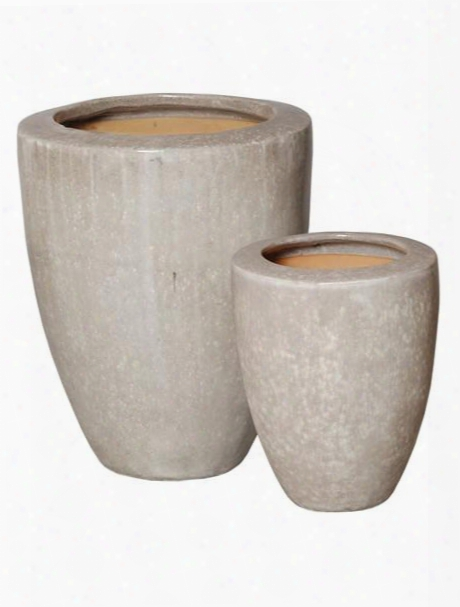 Set Of Two Planters With Rim In Grey Design By Emissary