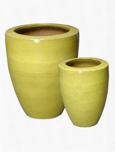 Set Of Two Planters With Rim In Yellow Green Design By Emissary