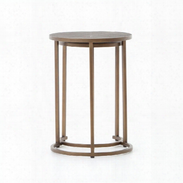 Shagreen Nesting Table In Antique Brass