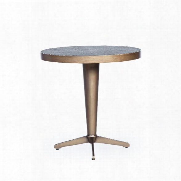 Shagreen Side Table In Antique Brass