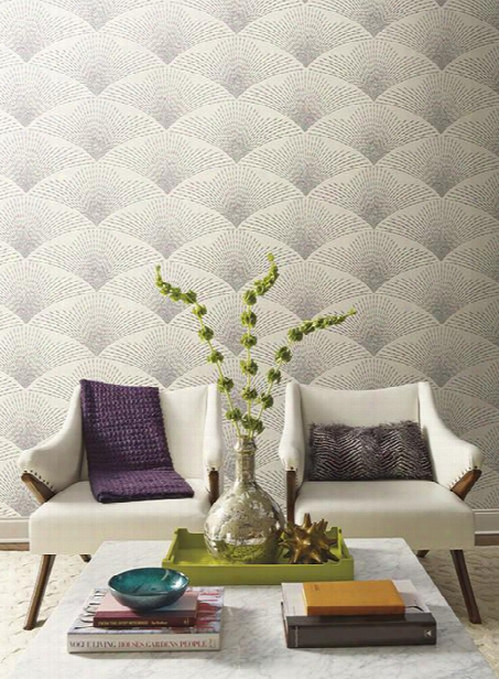 Shimmering Fan Wallpaper In Beige, Teal, And Magenta By Antonina Vella For York Wallcoverings