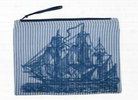 Ship Seersucker Pouch In Ink Design By Thomas Paul