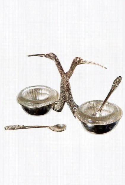 Silver Plated Stork Salt & Pepper Cellar By Vagabond Vintage
