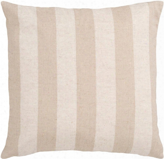 "Simple Stripe 18"" X 18"" Linen Pillow In Khaki And Taupe Hue By Surya"