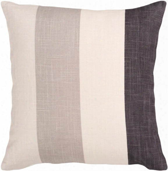 "Simple Stripe 18"" X 18"" Viscose Pillow In Cream And Black Hue By Surya"