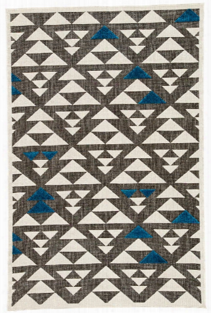 Sims Indoor/ Outdoor Geometric Gray & White Area Rug Design By Jaipur
