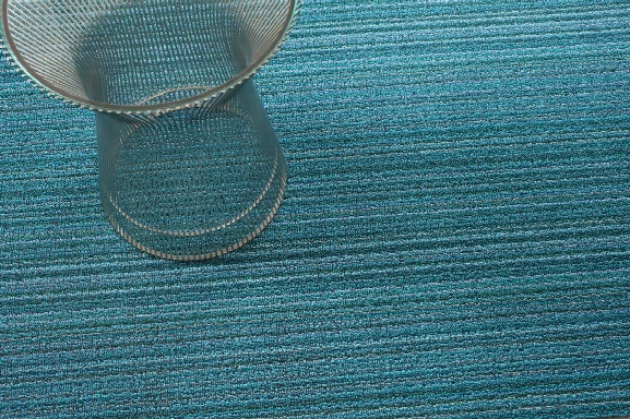 Skinny Stripe Shag Turquoise Mat In Various Sizes Design By Chilewich