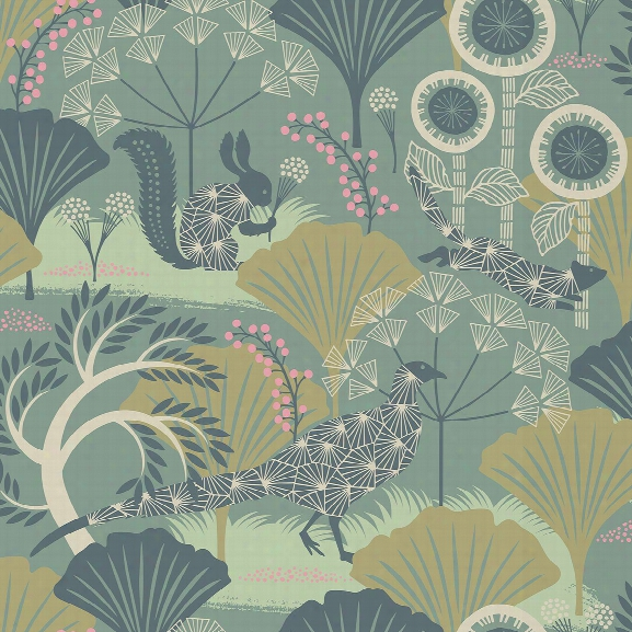 Skog Green Forest Wallpaper From The Wonderland Collection By Brewster Home Fashions