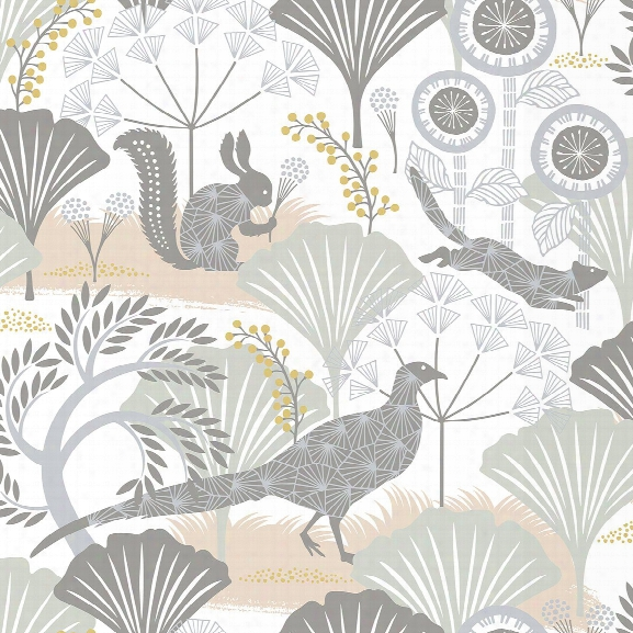 Skog White Forest Wallpaper From The Wonderland Collection By Brewster Home Fashions
