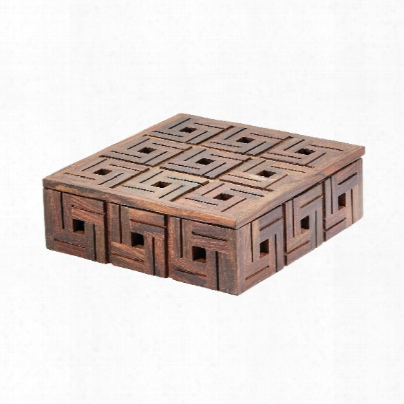 Small Chocolate Teak Patterned Box Design By Lazy Susan