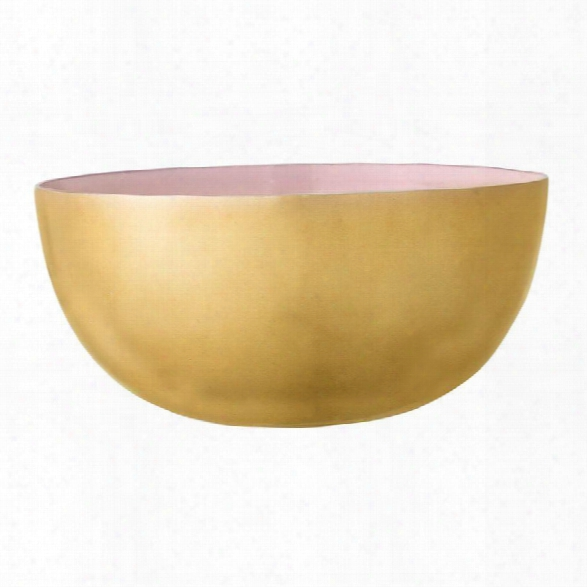 Small Enameled Aluminum Bowl In Rose & Gold Design By Bd Edition