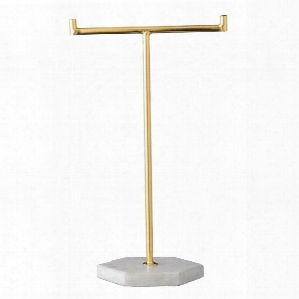 Small Gold Jewelry Stand W/ White Marble Base Design By Bd Edition