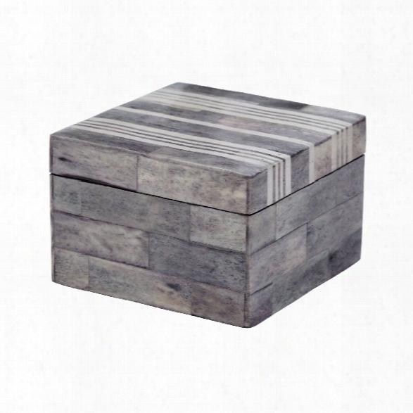 Small Grey & White Bone Box Design By Lazy Susan