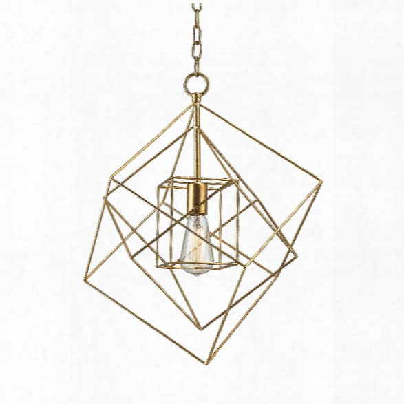 Small Neil 1 Light Box Pendant In Gold Leaf Design By Bd Fine