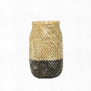Small Natural & Matte Black Bamboo Lantern w/ Glass Insert design by BD Edition