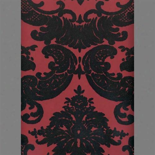 Black & Peanut Red Madison Damask Velvet Flocked Wallpaper Design By Burke Decor