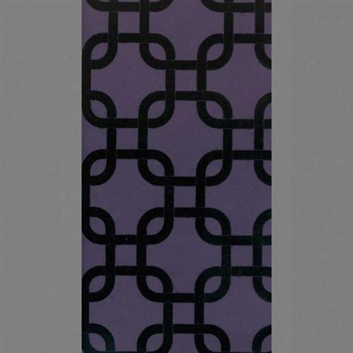 Black & Purple Geometric Squares Velvet Flocked Wallpaper Design By Burke Decor