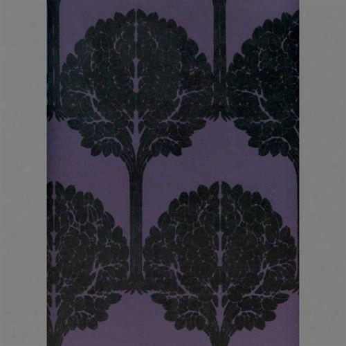 Black &amo; Purple Trees Velvet Flocked Wallpaper Design By Burke Decor