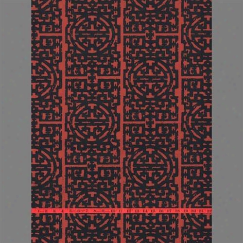 Black & Red Asian Velvet Flocked Wallpaper Design By Burke Decor