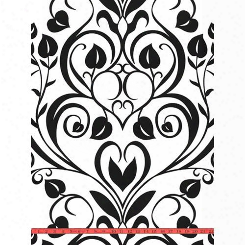 Black & White Heart Leaf Damask Velvet Flocked Wallpaper Design By Burke Decor