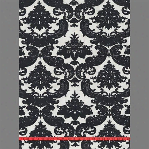 Black & White Madison Damask Velvet Flocked Wallpape Design By Burke Decor
