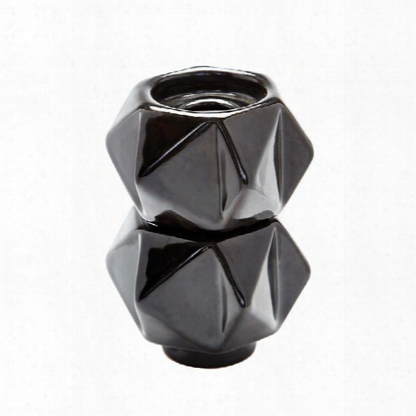 Black Faceted Candleholders Design By Lazy Susan