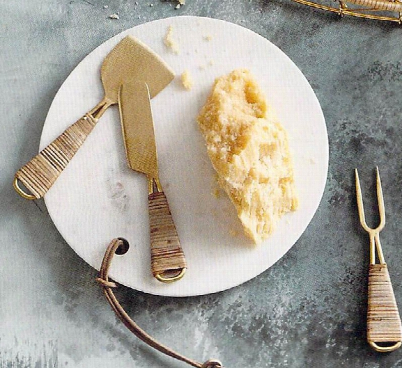 Blanca Marble Boards With Leather Ties And Brass & Rattan Cheese Tools By Roost