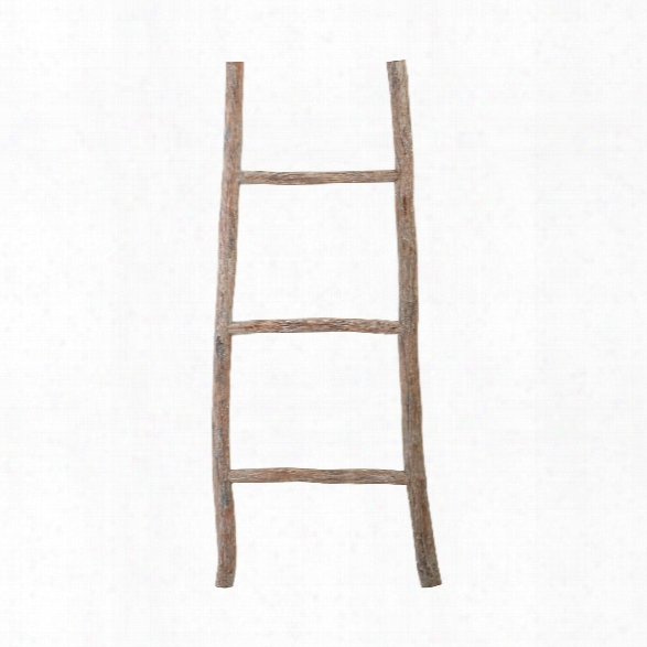 Small Wood White Washed Ladder Design By Lazy Susan