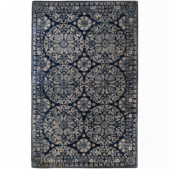Sithsonian Collection Wool Area Rug In Dark Slate Blue, Dove Grey, And Parchment Design By Smithsonian