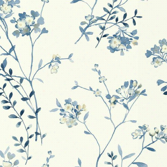 Soft Blossoms Wallpaper In Blue And Ivory Design By Carey Lind For York Wallcoverings