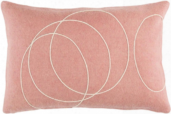 Solid Bold Pillow In Mauve & Cream Design By Bobby Berk