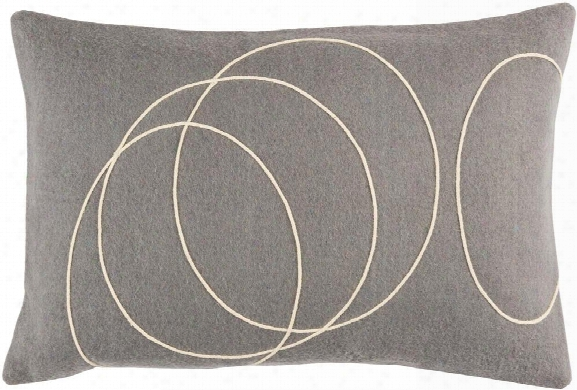 Solid Bold Pillow In Medium Grey & Cream Design By Bobby Berk