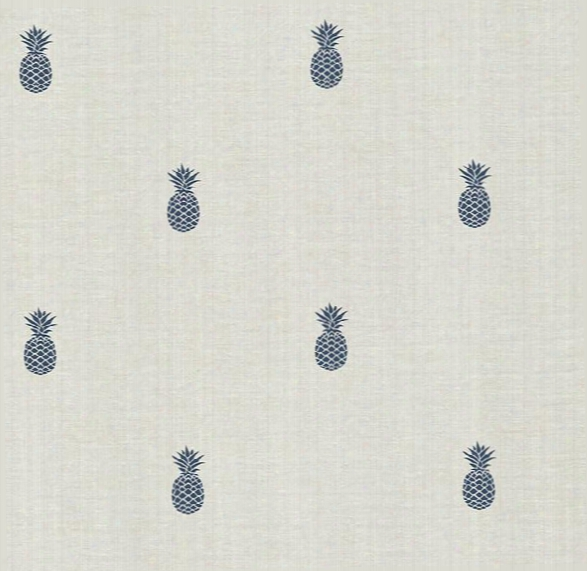 Southern Charm Navy Pineapple Wallpaper From The Seaside Living Collection By Brewster Home Fashions