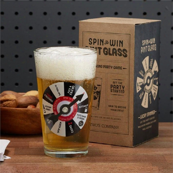 Spin To Win Pint Game Glass Design By Twos Company