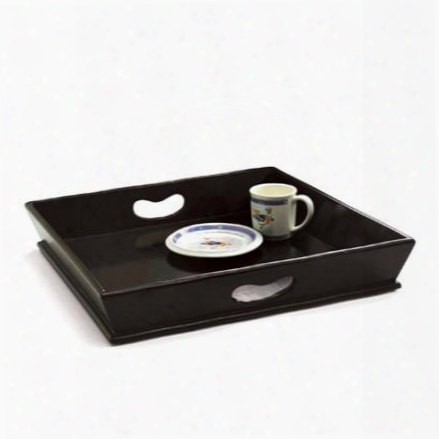 Square Wood Tray In Black Design By Skalny