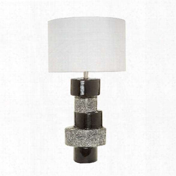 Stacked Ovals Table Lamp In Grey & Black Design By Lazy Susan