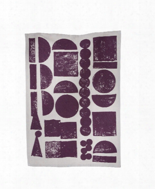 Stamp Tea Towel In Aubergine Design By Ferm Living