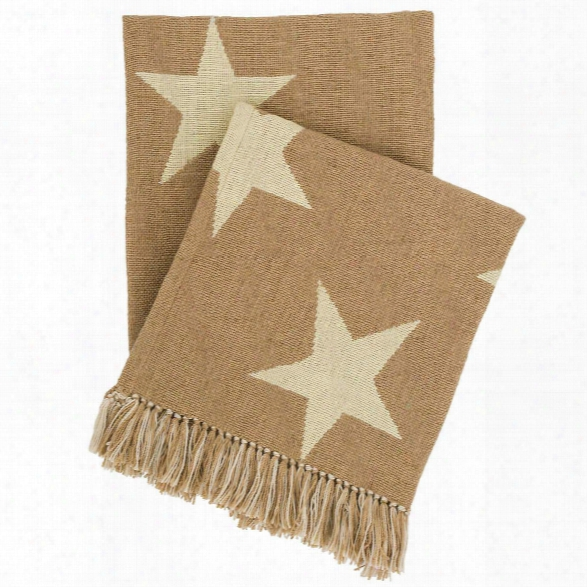 Star Camel/ivory Indoor/outdoor Throw Design By Fresh American
