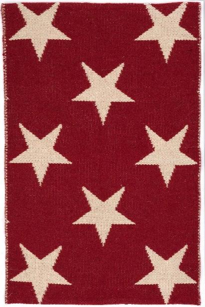 Star Indoor/outdoor Rug In Red & Ivory Design By Dash & Albert