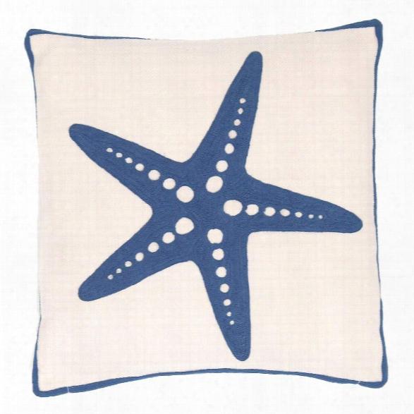 Starfish Denim Indoor/outdoor Pillow Design By Fresh American