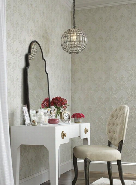 Stitched Ornamental Wallpaper In Pale Grey And Gold By Antonina Vella For York Wallcoverings