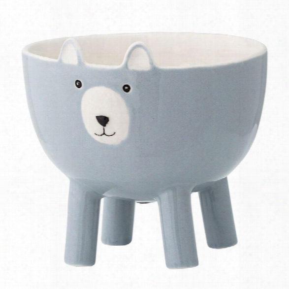 Stoneware Bear Bowl W/ Feet In Blue Design By Bd Mini