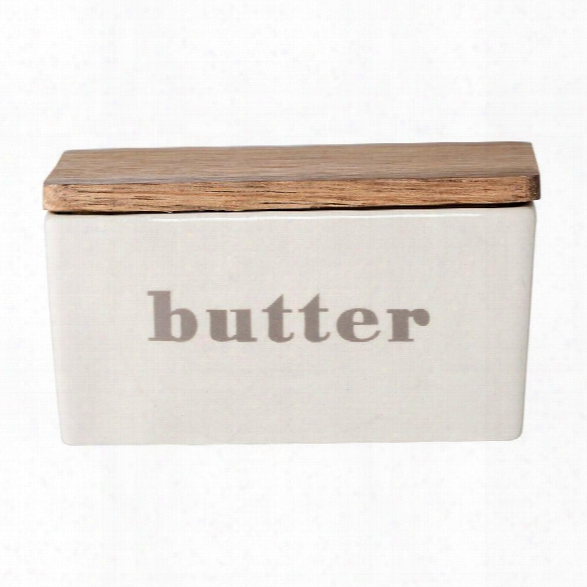 Stoneware Butter Box W/ Bamboo Lid In Grey Design By Bd Edition
