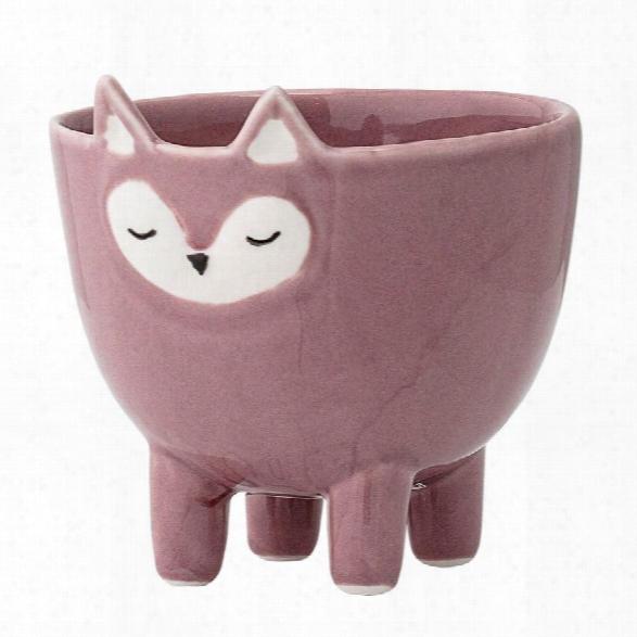 Stoneware Fox Bowl W/ Feet In Rose Design By Bd Mini