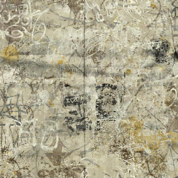 Street Art Wallpaper In Black And Yellow Design By York Wallcoverings