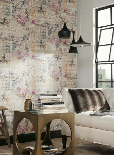 Street Art Wallpaper In Orange And Pink Design By York Wallcoverings