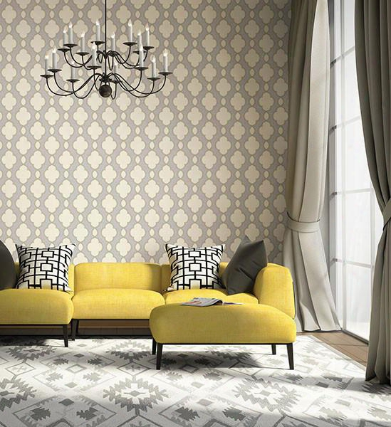 Structure Yellow Chain Link Wallpaper From The Symetrie Collection By Brewster Home Fashions