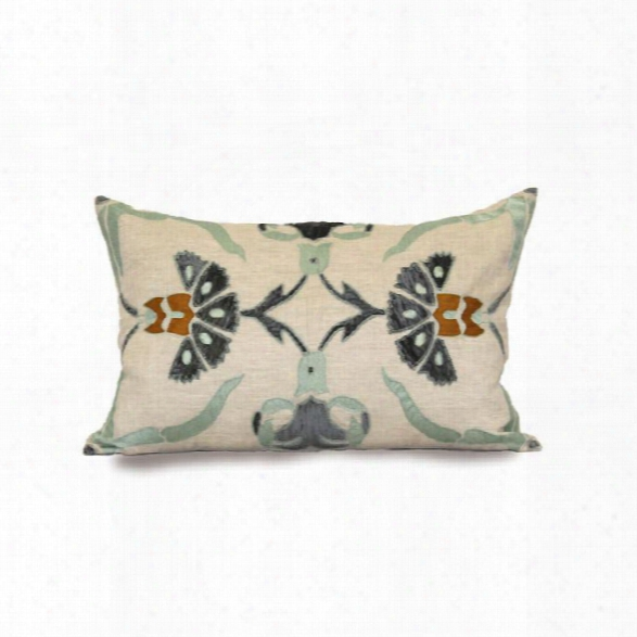 """Sultan Carn 16"""" X 24"""" Pillow In Natural And Blue Design By Bliss Studio"""