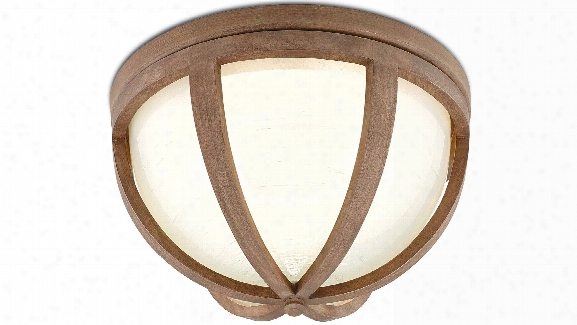 Summersville Flush Mount In Natural Chestnut Wood Design By Currey & Company